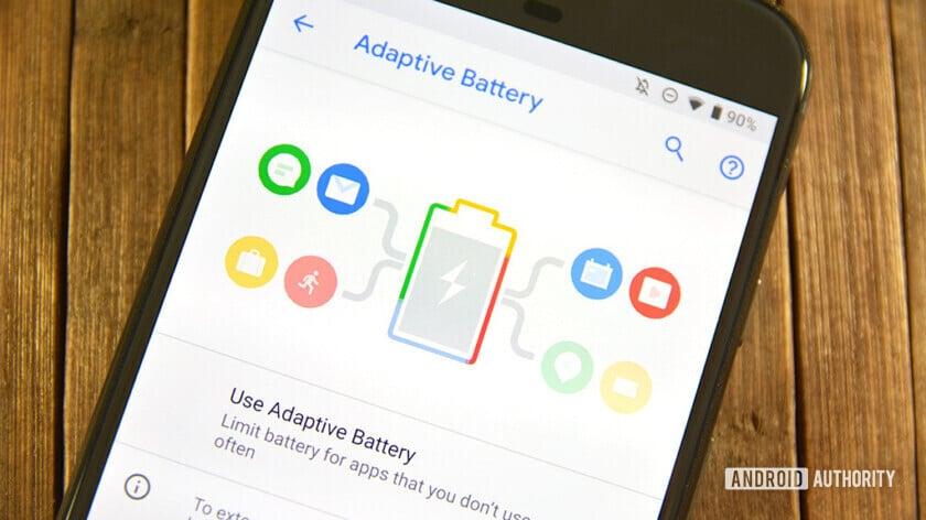 El menú Batería adaptable en Android Pie.