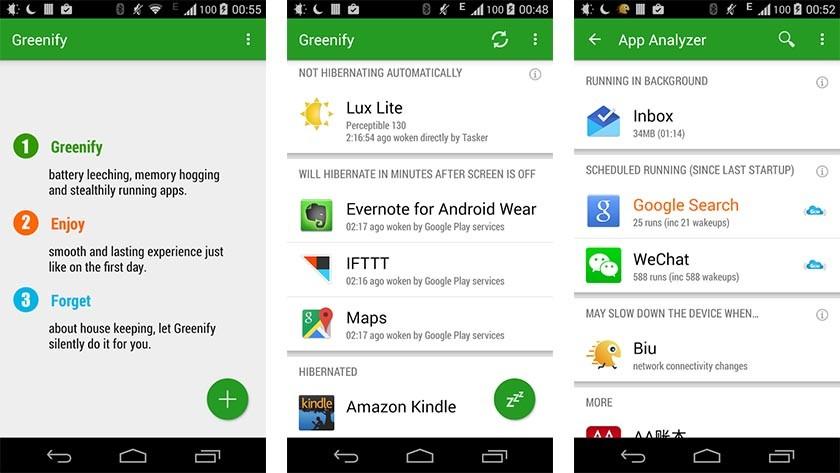Greenify las mejores aplicaciones de ahorro de batería para Android