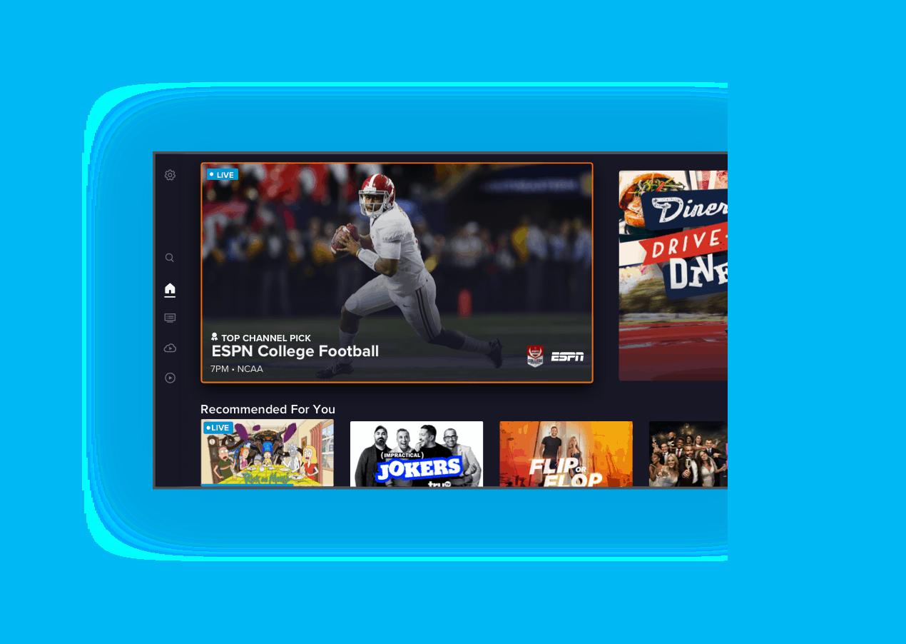 Pantalla de inicio de la nueva aplicación SLING TV