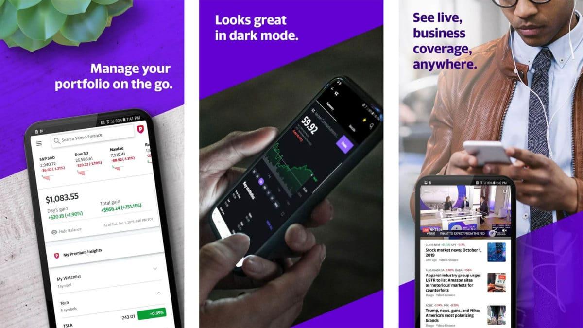 Captura de pantalla de Yahoo Finance 2020
